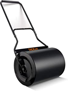 TACKLIFE Lawn Roller 16x20-Inch, 60L/ 16 gallons Garden Drum Roller Push/Tow Behind, Filled with Water/Sand for Eliminating Turf Damage, Depositing Loose Dirt, Seeding HR60L