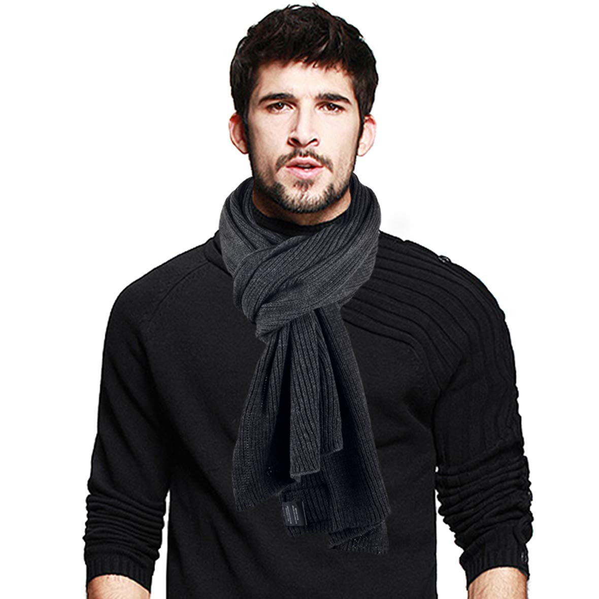 Two-tone Stylish Men Soft Knit Winter Infinity Long Scarf (Plain-DGrey)
