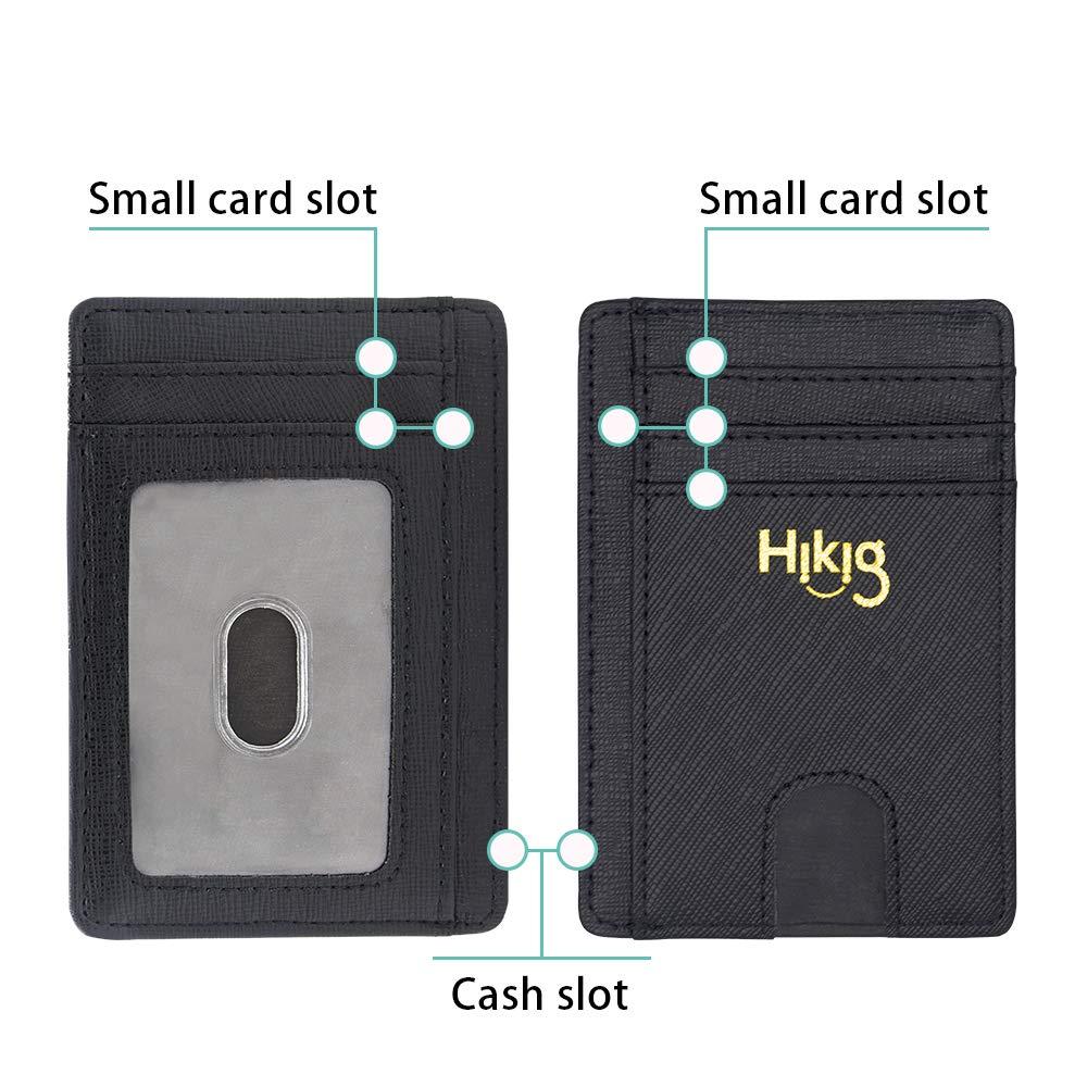 Slim Minimalist Leather Wallet RFID Blocking Money Clip Front Pocket Credit Card Holder Men Women Mini Wallet (Black)