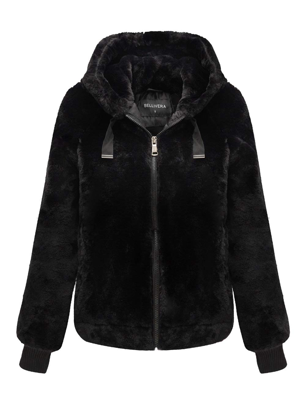 Bellivera Women's Faux Fur Coat with 2 Side-Seam Pockets, The Fuzzy Jacket with Hood, for Spring Fall and Winter by Bellivera
