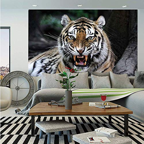 African Huge Photo Wall Mural,Tiger Face with Roaring Wildlife Safari Savannah Animal Nature Zoo Photo Print,Self-Adhesive Large Wallpaper for Home Decor 108x152 inches,Multicolor