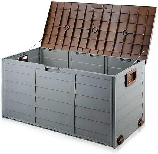 Caja de almacenamiento de jardín, cofre de utilidad con cobertizo de plástico mocca y marrón: Amazon.es: Jardín