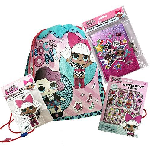 (MGA LOL Surprise Sling Backpack Bag with Light up Lanyard, Sticker & Secret Diary Set)