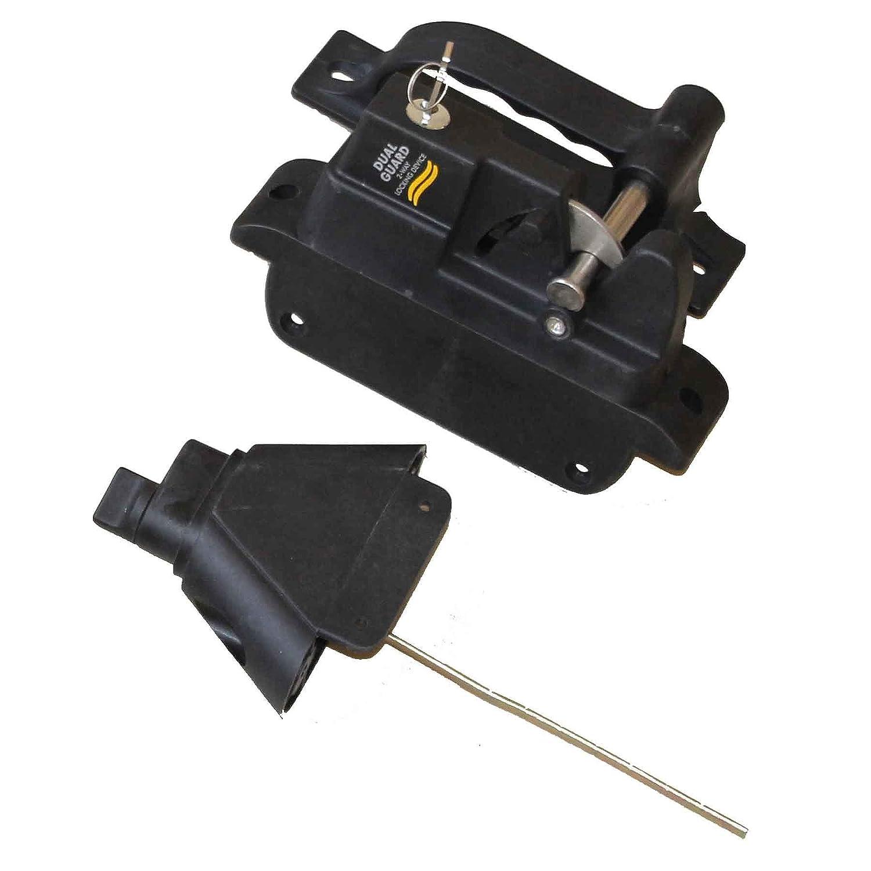 Richelieu Hardware 3030BPYR Polymer Gate Locking Latch 2 Sided Black Finish