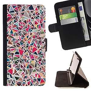 Momo Phone Case / Flip Funda de Cuero Case Cover - Azulejos de piedra rosa Patrón de mármol - Samsung Galaxy A3