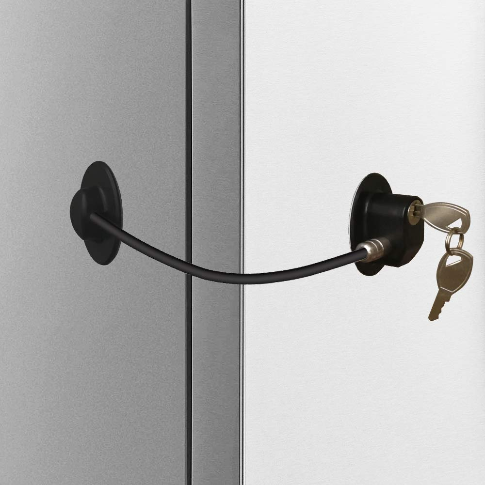 Alamic Refrigerator Door Lock 2 Pack- Freezer Door Lock Cabinet Lock Strong Adhesive Cable Lock Security Door Lock, Black by Alamic