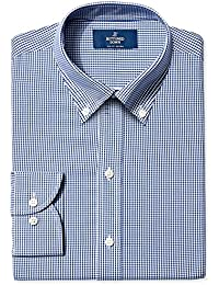 Men's Slim Fit Gingham & Stripe Pattern Non-Iron Dress Shirt