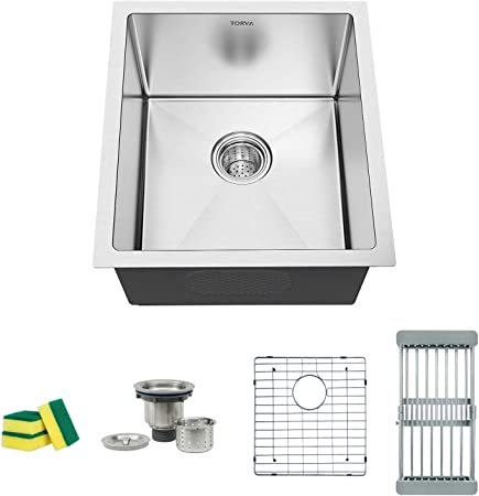 Torva 17 Inch Undermount Kitchen Sink 16 Gauge Stainless Steel Single Bowl 17 X 19 X 9 Inch Deep Bar Prep Basin