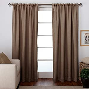 Exclusive Home Curtains Burlap Window Curtain Panel Pair with Rod Pocket, 54x84, Natural, 2 Piece
