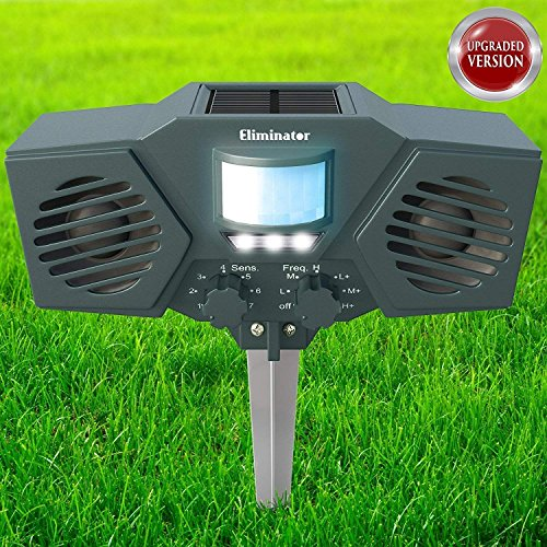 Eliminator Advanced Electric Solar Outdoor Animal & Rodent Pest Repeller for Deer, Cats, Dogs, Birds, Squirrels etc. [UPGRADED VERSION]