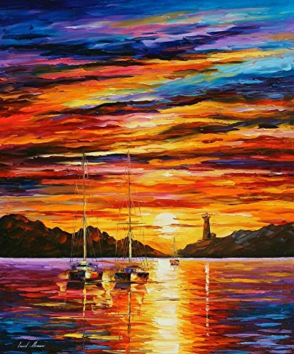 Sea Bathroom Decor Harbor Fine Art Oil Painting On Canvas By Leonid Afremov - By The Entrance Of Harbor ()