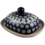 Polish Pottery Boleslawiec Butter Dish, Large, in LEAF pattern. Fits a 1/2 lb pack of butter perfectly.
