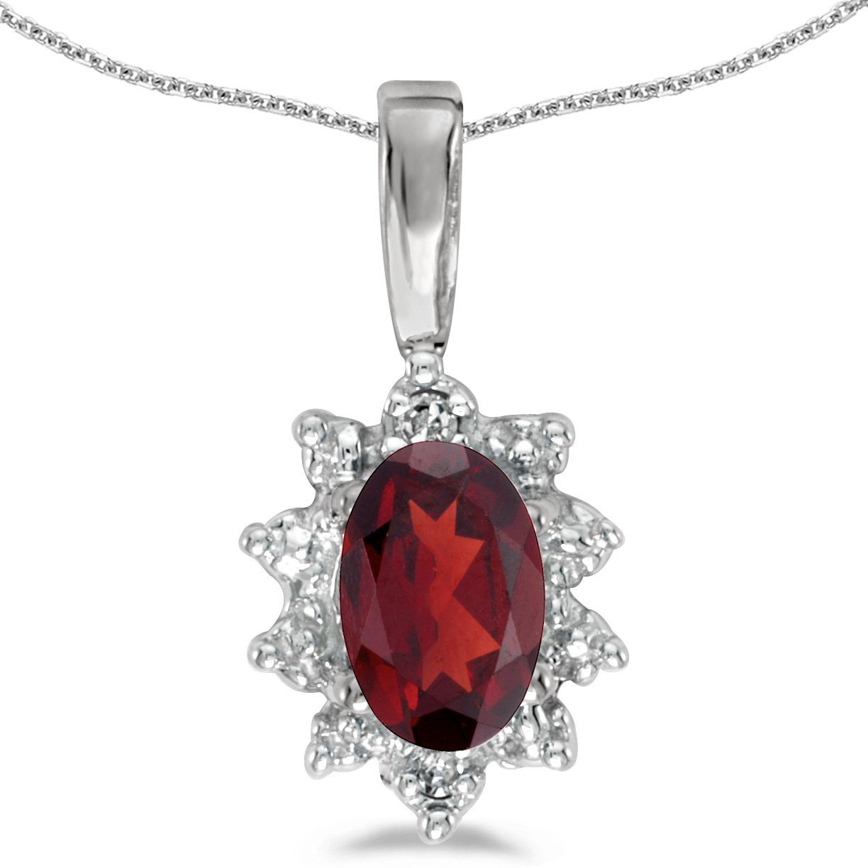 FB Jewels Solid 14k White Gold Genuine Birthstone Oval Gemstone And Diamond Pendant 0.31 Cttw.