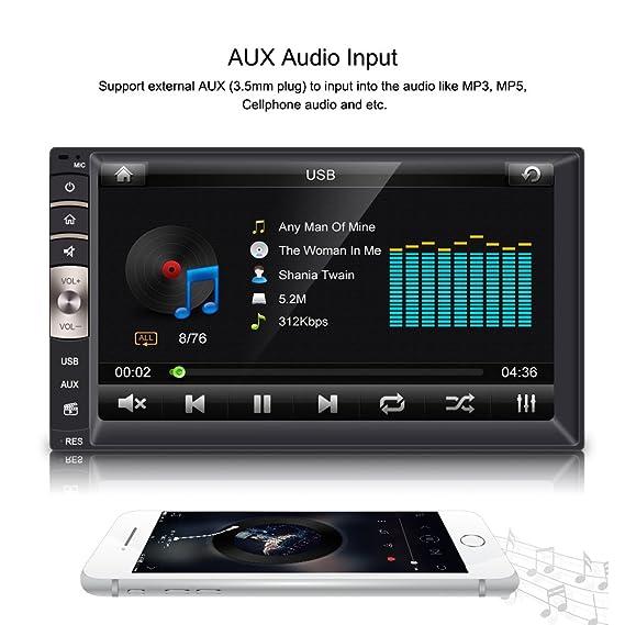 Qiilu Universal 7 Pulgadas 2 DIN Reproductor Multimedia MP5 HD Pantalla Táctil Bluetooth USB/TF FM Aux Entrada Radio Estéreo MP5 Player para Coche: ...