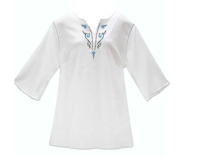 ungleich in der Leistung neuesten Stil zuverlässigste adonia mode Lässig freche Crinkle Tunika Weiß mit Stickerei , Gr.44