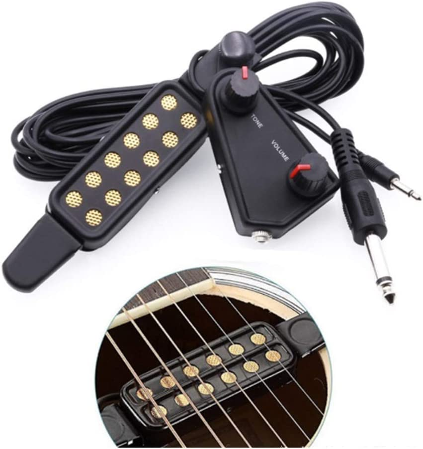 Yibuy Sound Hole Pickup with Tone Volume Controller Knobs for 4 String Guitar