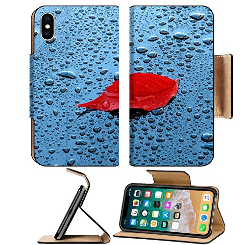 Luxlady Premium Apple iPhone X Flip Pu Leather Wallet Case IMAGE ID: 23121312 Water drops on car paint with red leaf Waterdrops on a polished black lacquer surface red leaf - Leaf Lacquer