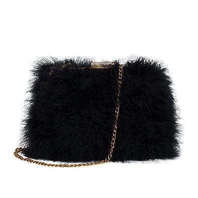5bdec802b1 Flada Women s Faux Fluffy Feather Clutch Purse Bag Shoulder Bag Crossbody  Handbag With Chain Strap Black
