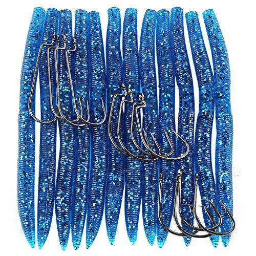 Sougayilang Senko Bait Fishing Lures Soft Plastic Worm Baits - Pack of 12Pcs