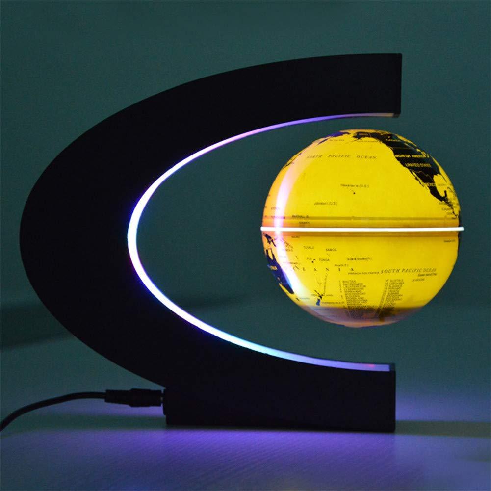 HLDUYIN 180° Maglev rotierenden Globus Bunte Verfärbung Verfärbung Verfärbung führte Erde Lampe für Haus, Büro, etc. geeignet,Goldglow,3.5inch f82056