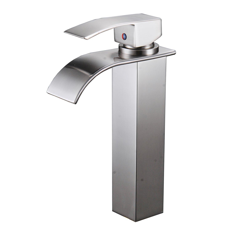 BWE Waterfall Bathroom Sink Vessel Faucet Bath Spout Nickel Brushed by BWE