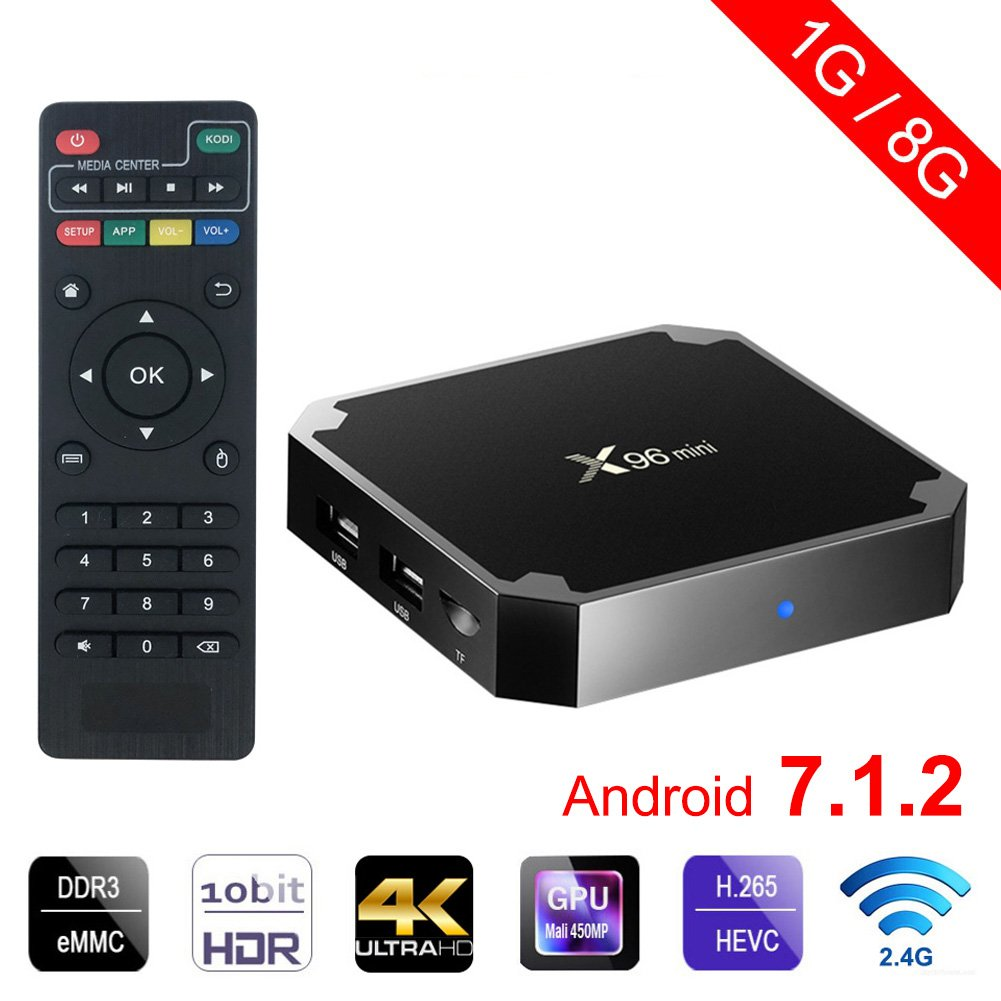 FIESAND X96 Mini Android TV Box 1GB +8GB Android 7.1 4K Smart TV Box 64bit Quad Core CPU by FIESAND