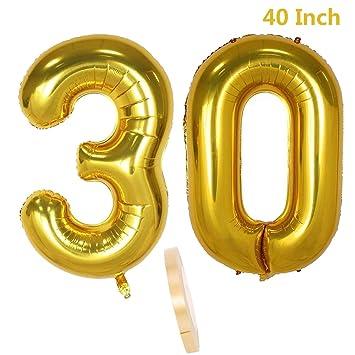 2 Globos Número 30, Número 30 Decoración De Cumpleaños Con Globos Chica De Oro, Globo De Papel De Helio Inflable Globos Niños,30 Globo De Papel De ...