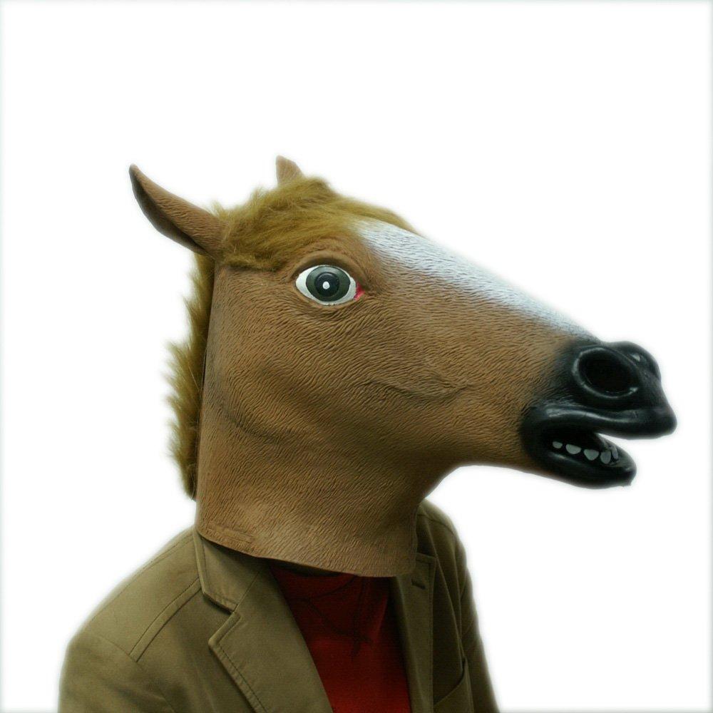 Accoutrements - Máscara de caballo loco, disfraz de caballo de goma para la cabeza, marrón: Amazon.es: Juguetes y juegos