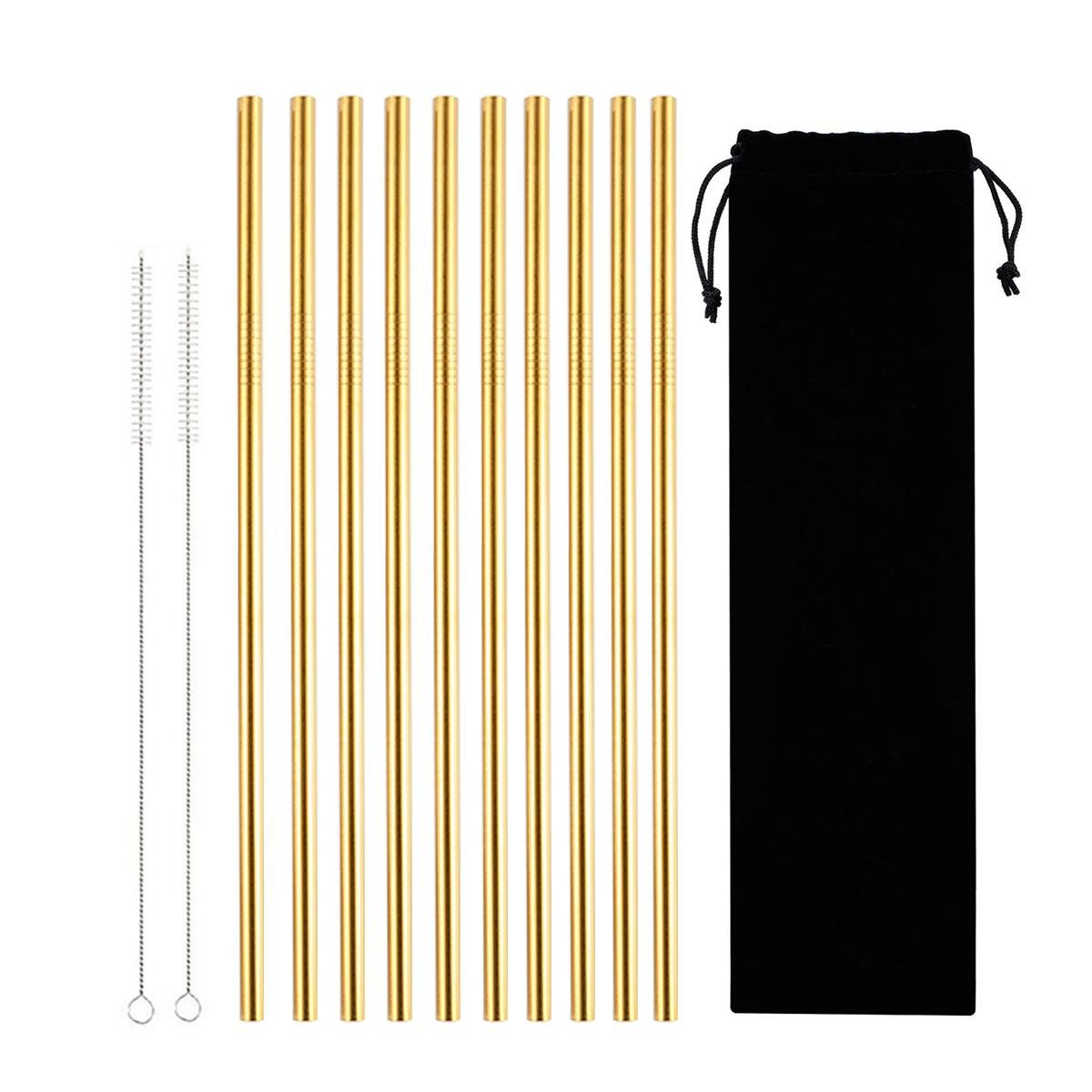 Stainless Steel Straws, LEEGOAL 10Pcs Reusable Straws Metal Drinking Straws Eco-Friendly Long Straight Straws for 20oz Tumblers Cups Mugs Cold Beverage with 2 Cleaning Brushes and Carry Bag, Gold