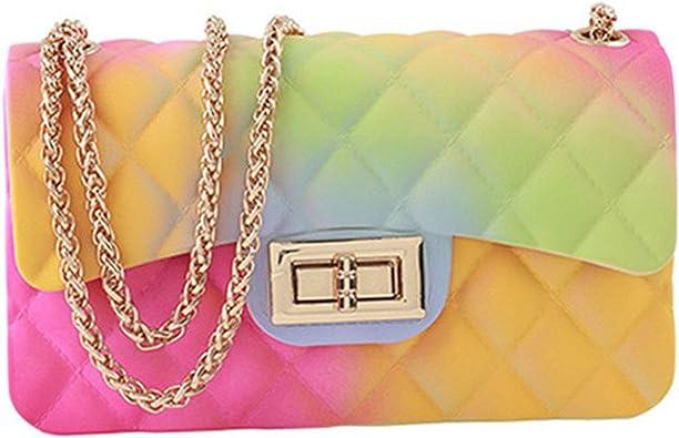 Rainbow Jelly Purses for Women, Women Satchel Purse Handbags, Colorful Ladies Crossbody Shoulder Bag, Candy Color Jelly Purse
