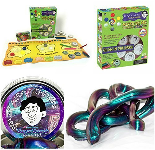 Crazy Aaron Thinking Putty Gift Bundle Mixed By Me Glow Dark Kit + Bonus Super Illusions Super Scarab Tin by Crazy Aaron's (Image #1)