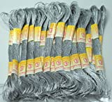 New ThreadNanny 24 METALLIC SILVER Skeins of High Quality 100% Cotton Metallic Thread for Hand Embroidery - THREADSRUS BRAND