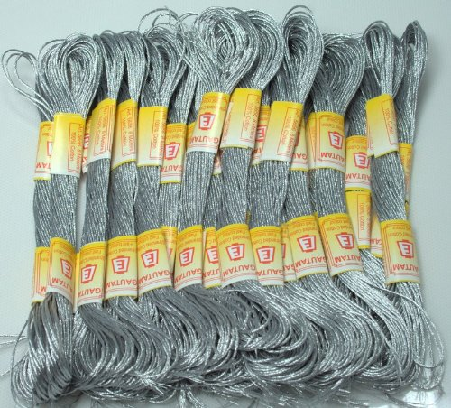 New ThreadNanny 24 METALLIC SILVER Skeins of High Quality 100% Cotton Metallic Thread for Hand Embroidery - THREADSRUS BRAND by Threadsrus