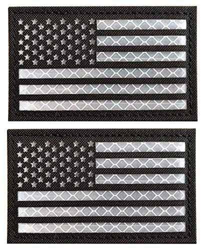 - WZT 2 Pack Reflective Tactical USA Flag Patch - American Flag US United States of America Military Uniform Emblem Patches Hook-Fastener Backing (Black)