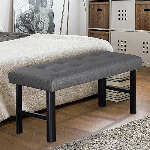 PrimaSleep Tall Memory Foam Padded Upholstered Bench/Cushiony/Modern/Upholstered Bench, Dark Grey