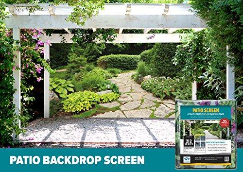 FenceScreen Garden with Stone Path Decorative Gazebo, Patio & Garage Door Backdrop Screen 9' x 7' (Garage Door 9ft X 7ft)