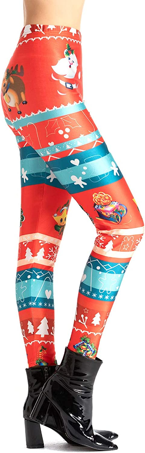 TWOTWOWIN Women Christmas Leggings Workout Footless Yoga Stretchy Pants Casual Printed Funny Tights