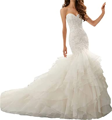 Beauty Bridal Sweetheart Ruffle Organza Women Mermaid Wedding Dresses