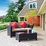 Cloud Mountain Outdoor Loveseat 2 Piece Wicker Resin Patio Bench Cushions Outdoor Sofa Black Ergonomic Comfortable Modern Easy Assembly Patio Lawn Garden Backyard Pool Balcony with Thicker Pillows Cus
