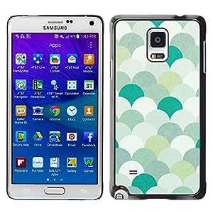 Paccase / SLIM PC / Aliminium Casa Carcasa Funda Case Cover para - Teal Green White Minimalist Wallpaper - Samsung Galaxy Note 4 SM-N910F SM-N910K SM-N910C SM-N910W8 SM-N910U SM-N910