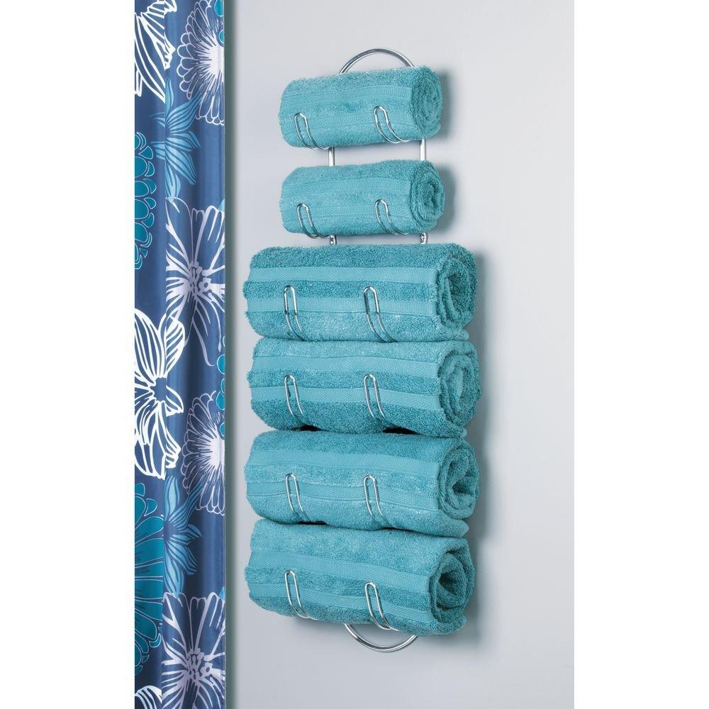 Amazon.com: mDesign Wall Mounted Metal Wire Towels Storage Shelf ...
