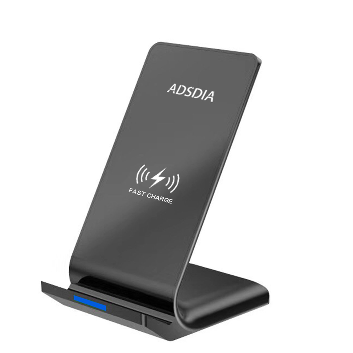 Fast Wireless Charger ADSDIA 10W QI Wireless Charger Charging Pad Stand for Samsung Galaxy and Standard Charge for iPhone X iPhone 8 iPhone 8 Plus (No AC Adapter)