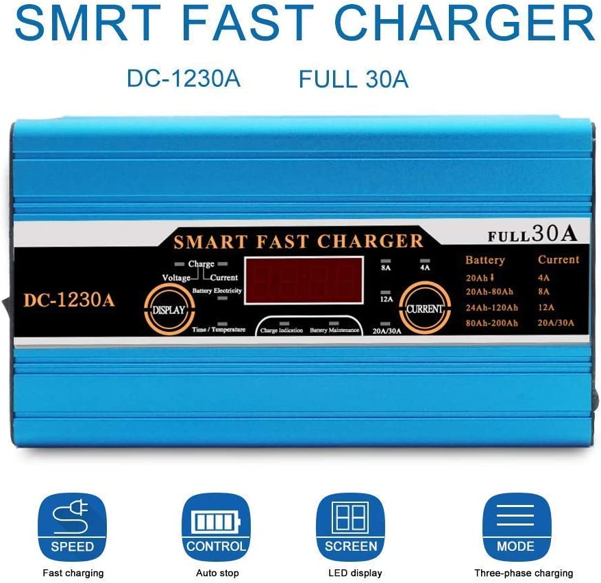 30A 12V Ricarica rapida per il tempo libero SUNWAN Caricabatteria intelligente display LCD per camper e camper