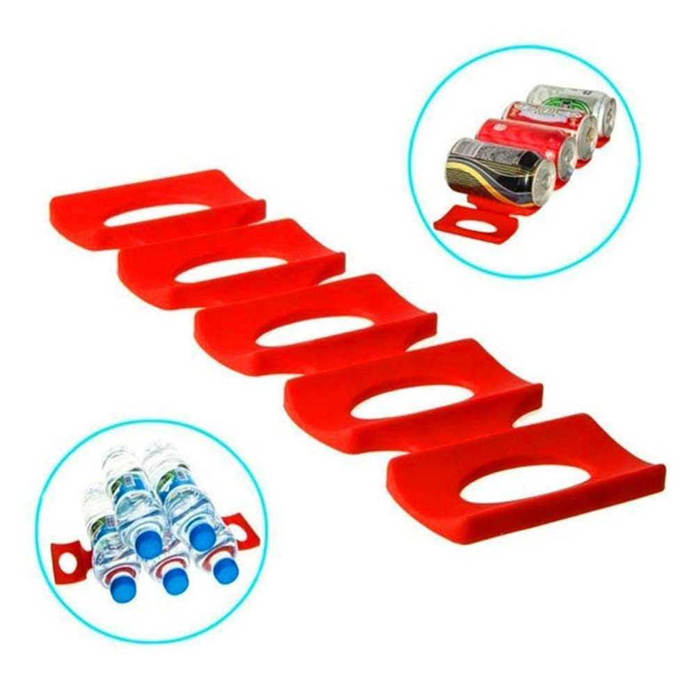 Bottle and Can Easy Stacker, Wine Bottles Stacker Holder Shelf Tidy Organiser Silicone For Kitchen Cabinet Pantry Fridge Heat Resistance Food Mats by Guizen. (Red, Pack of 1)