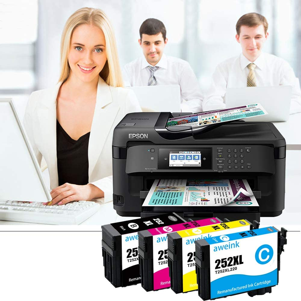 Aweink Remanufactured Ink Cartridge Replacement for Epson 252XL 252 High Yield High Capacity Fit for WF-3620 WF-3640 WF-7110 WF-7120 WF-7710 WF-7720 Printer 4Cyan,4-Pack