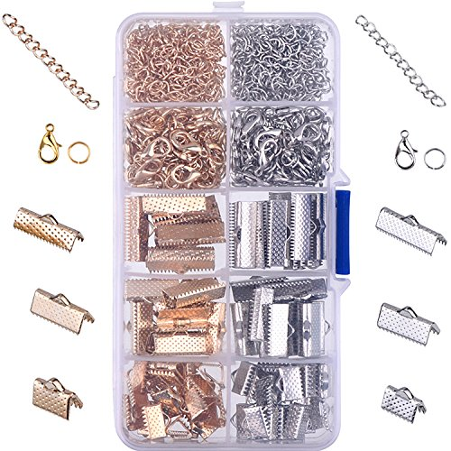 - Outus Ribbon Bracelet Kit Bookmark Pinch Crimp Ends Lobster Clasps with Jump Rings and Chain Extenders, 370 Pieces (Multicolor A)