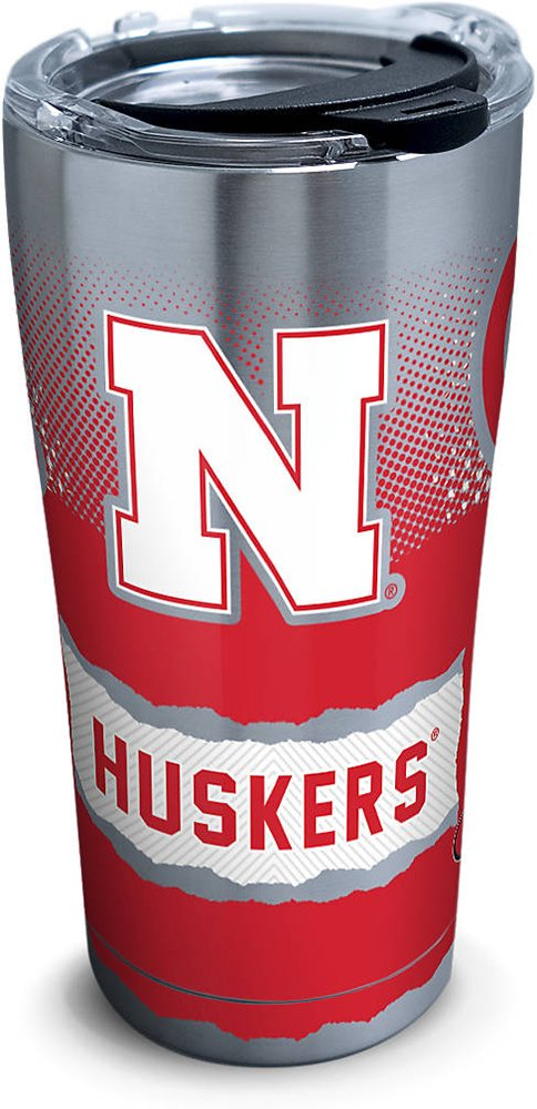 Tervis 1277168 Nebraska Cornhuskers Knockout Stainless Steel Tumbler with Clear and Black Hammer Lid 20oz, Silver by Tervis