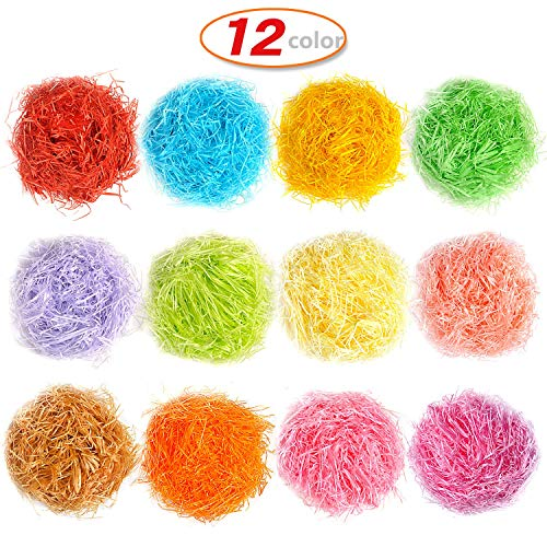 12 Color Gift Paper Shreds Easter Grass Paper for Packing and Gift Party Crafts Accessories Decorations,240 g 8.5 oz -