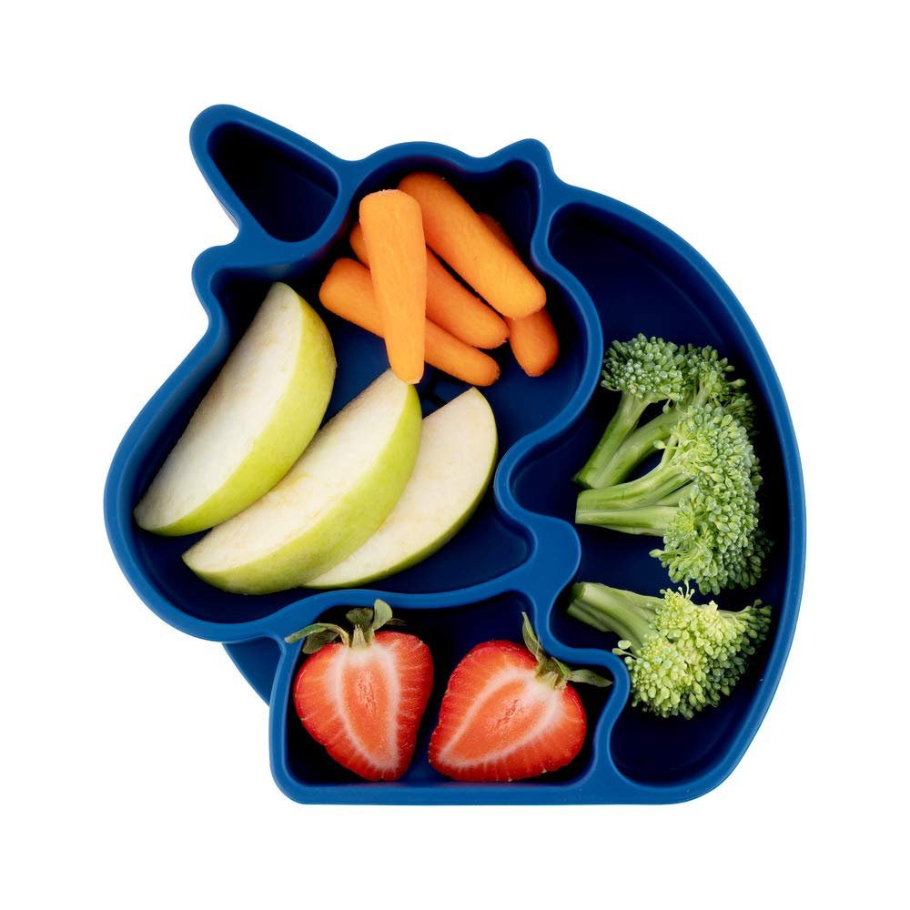 Juliaire, Unicorn Suction Plates for Toddlers - Babies | Divided Plates - 3 Compartments | Made from BPA Free, Food Grade Silicone| Microwave Safe |(Dark Blue Kids Plate)…