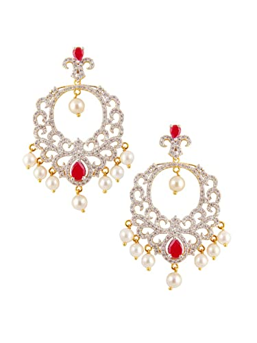 37fc7b751 Buy Rubans Finely Handcrafted Gold Plated CZ Studded Embellished With  Pearls And faux Ruby Chandbali Earrings Online at Low Prices in India |  Amazon ...